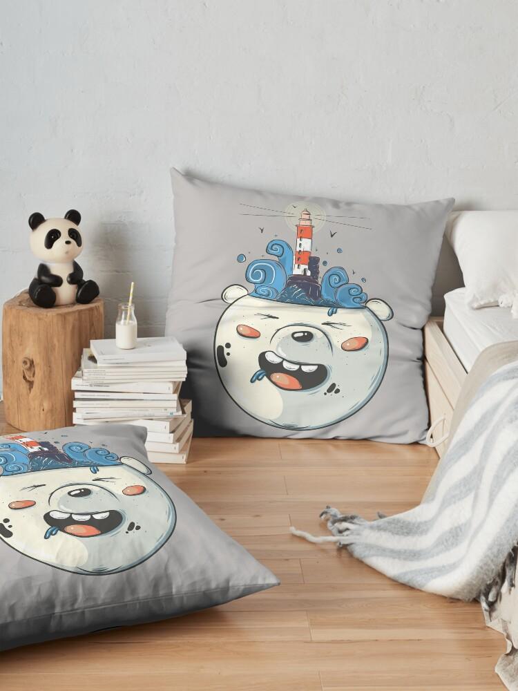 Alternate view of Ice Bear Get Idea. We Bare Bears fan art. Floor Pillow