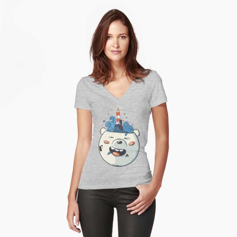 Ice Bear Get Idea. We Bare Bears fan art. Fitted V-Neck T-Shirt