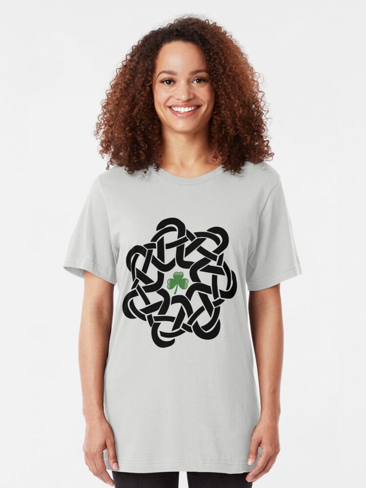 Alternate view of Irish Celtic Knot with Shamrock T-shirt Slim Fit T-Shirt