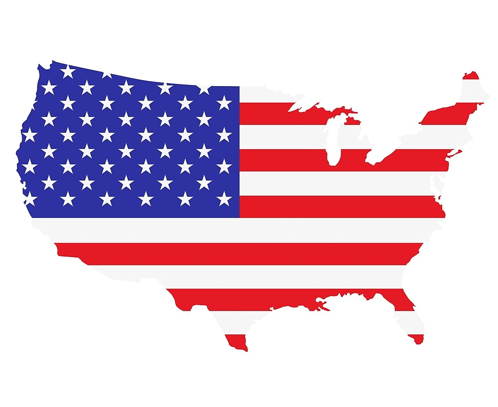 American Flag USA Map Outline By Frostyourlife Redbubble - Us map american flag