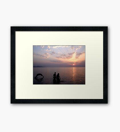 Sunset Swim. Framed Print