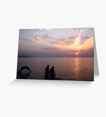 Sunset Swim. Greeting Card
