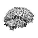 Blumengehirn schwarz und weiß von kikicollagist