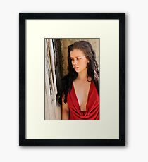 Stacey - red cowl 1 Framed Print