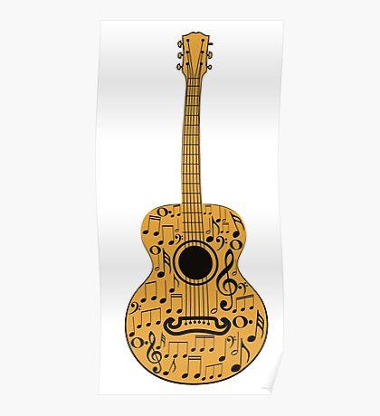 Gitarre und Musik Noten 4 Poster