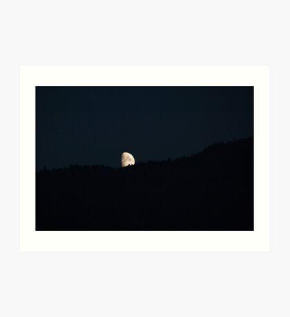 Moon peering over the hillside, Bolzano/Bozen, Italy Art Print