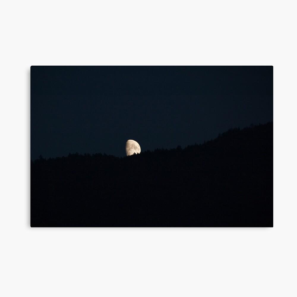 Moon peering over the hillside, Bolzano/Bozen, Italy Canvas Print