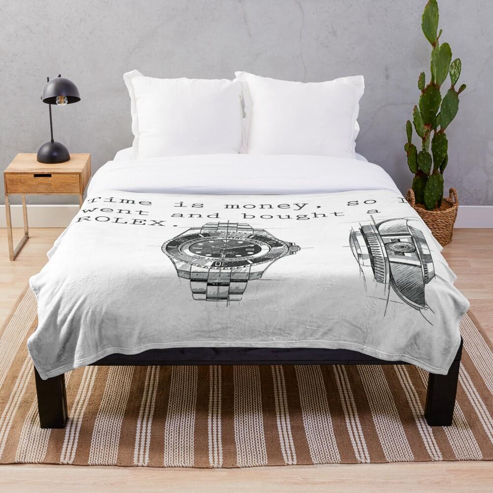 TIME IS MONEY - ROLEX  Throw Blanket