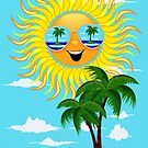 Happy Summer Sun and Tropical Island by BluedarkArt