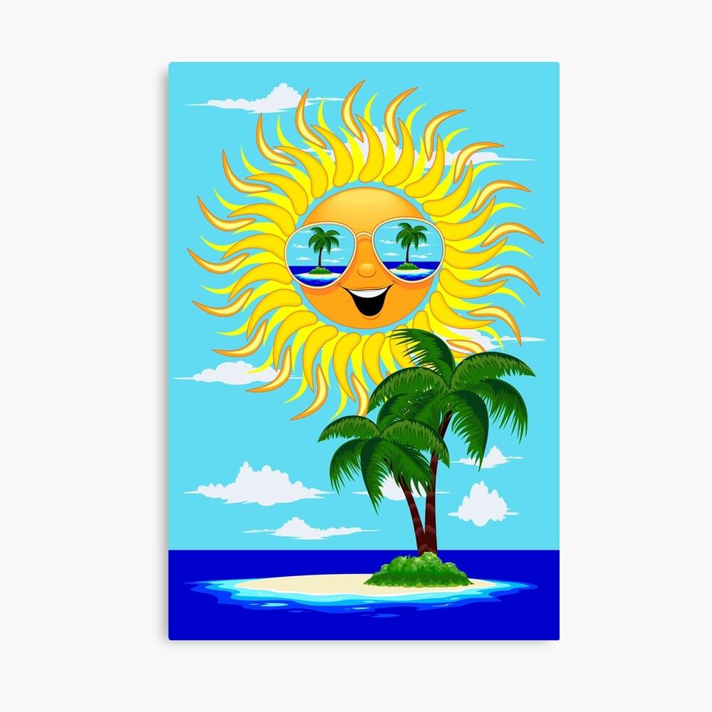 Happy Summer Sun and Tropical Island Canvas Print