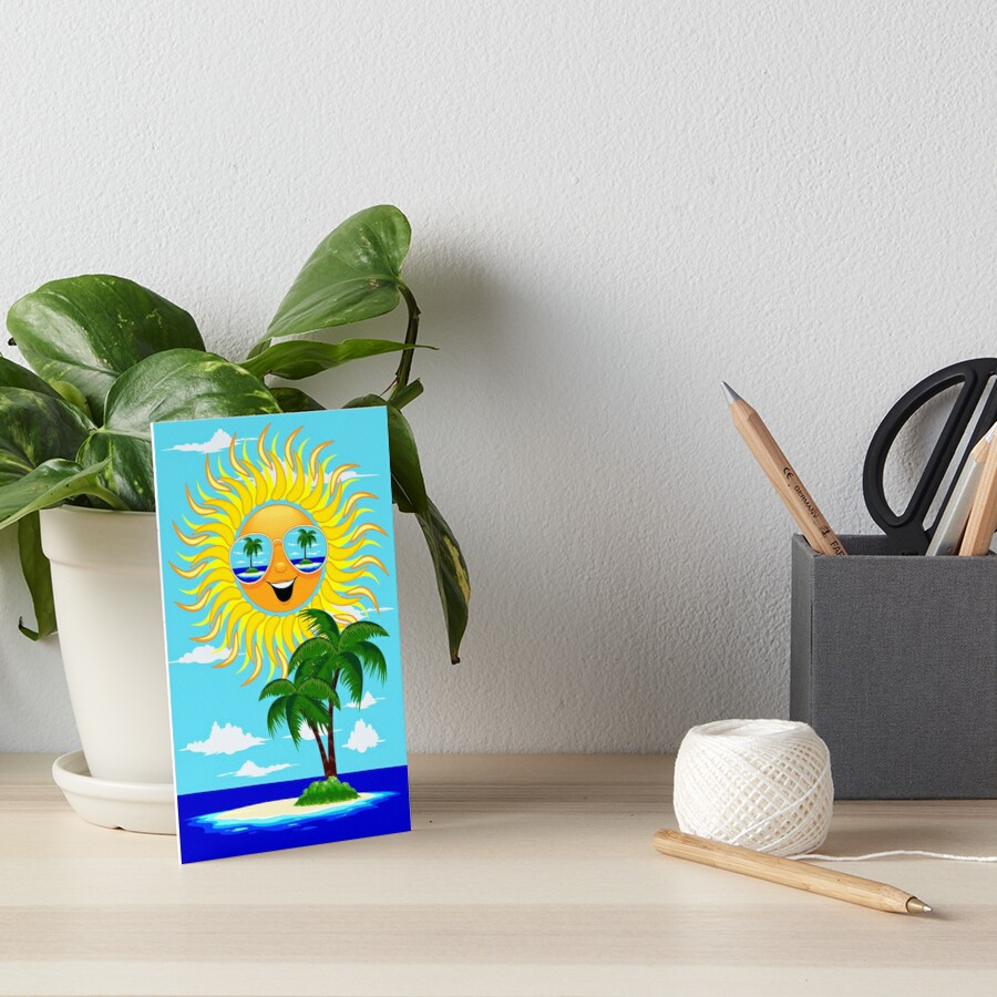 Happy Summer Sun and Tropical Island Art Board Print