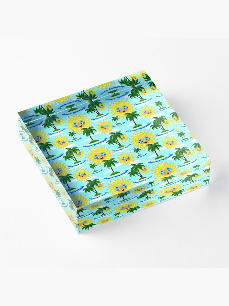 Alternate view of Happy Summer Sun and Tropical Island Acrylic Block