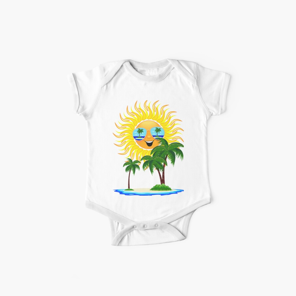 Happy Summer Sun and Tropical Island Baby One-Piece