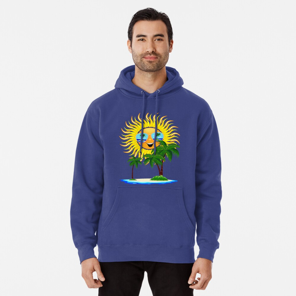 Happy Summer Sun and Tropical Island Pullover Hoodie