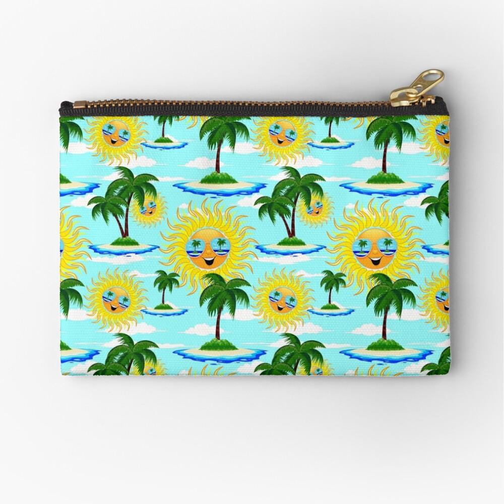 Happy Summer Sun and Tropical Island Zipper Pouch