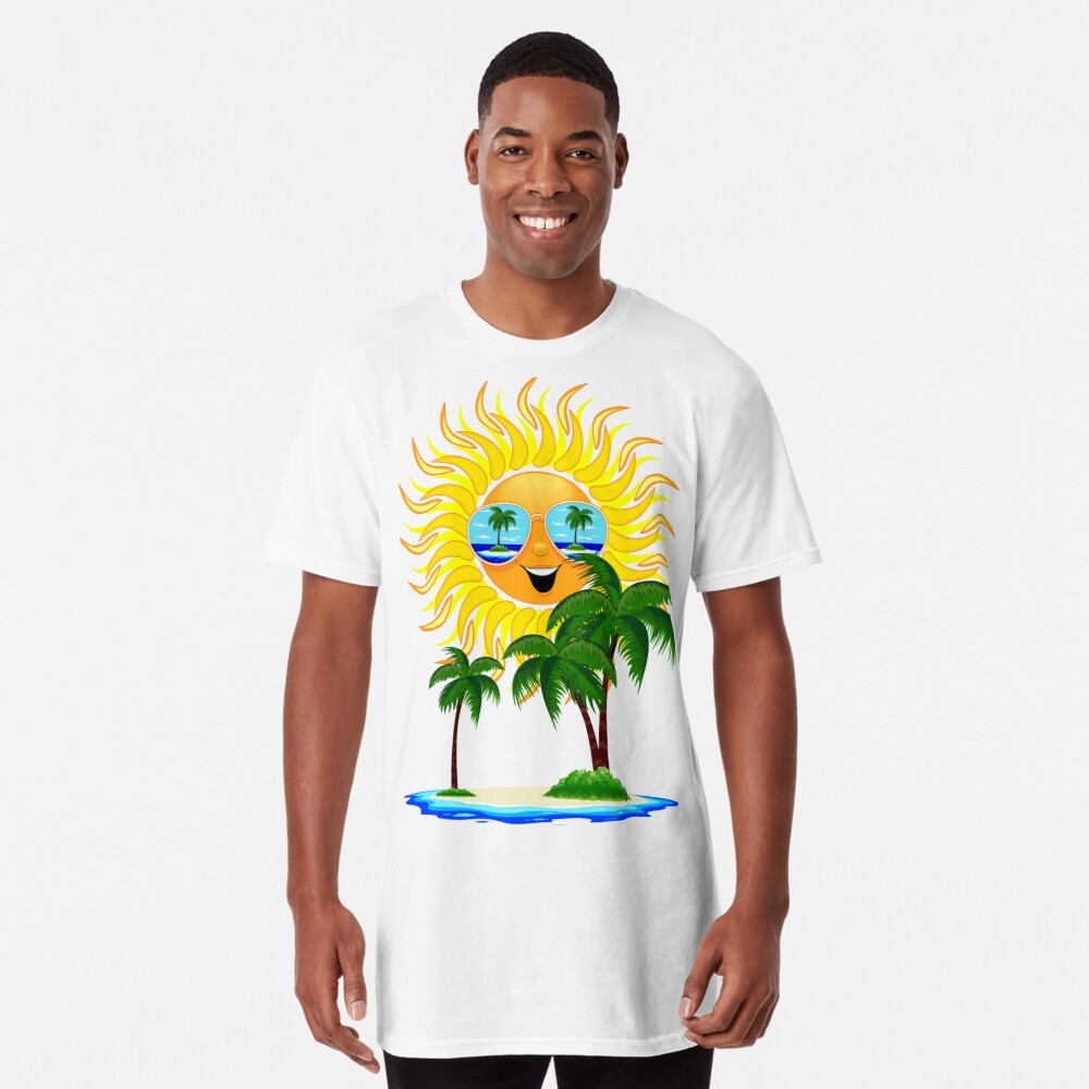 Happy Summer Sun and Tropical Island Long T-Shirt
