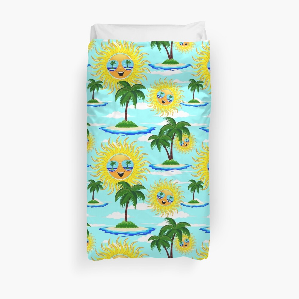 Happy Summer Sun and Tropical Island Duvet Cover