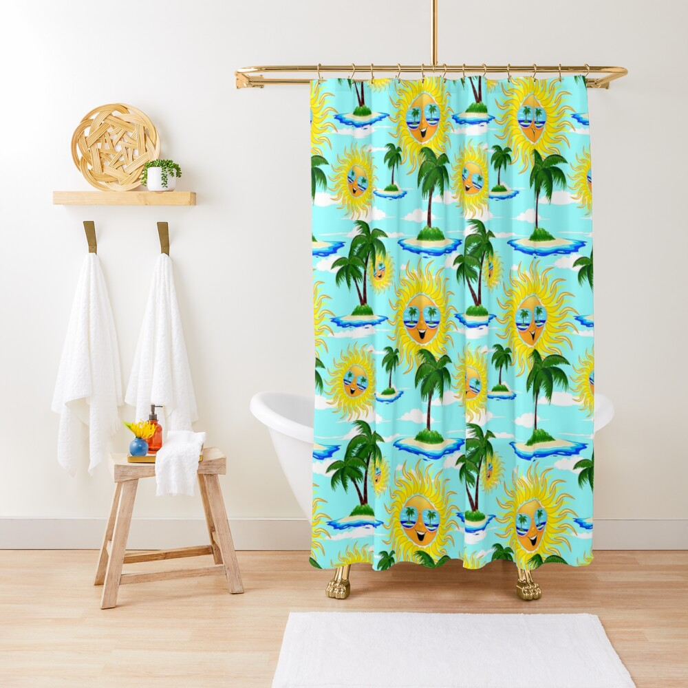 Happy Summer Sun and Tropical Island Shower Curtain