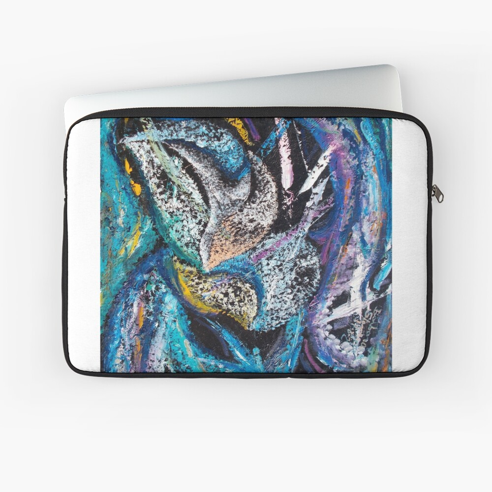 Blue Lily Abstract Art Laptop Sleeve