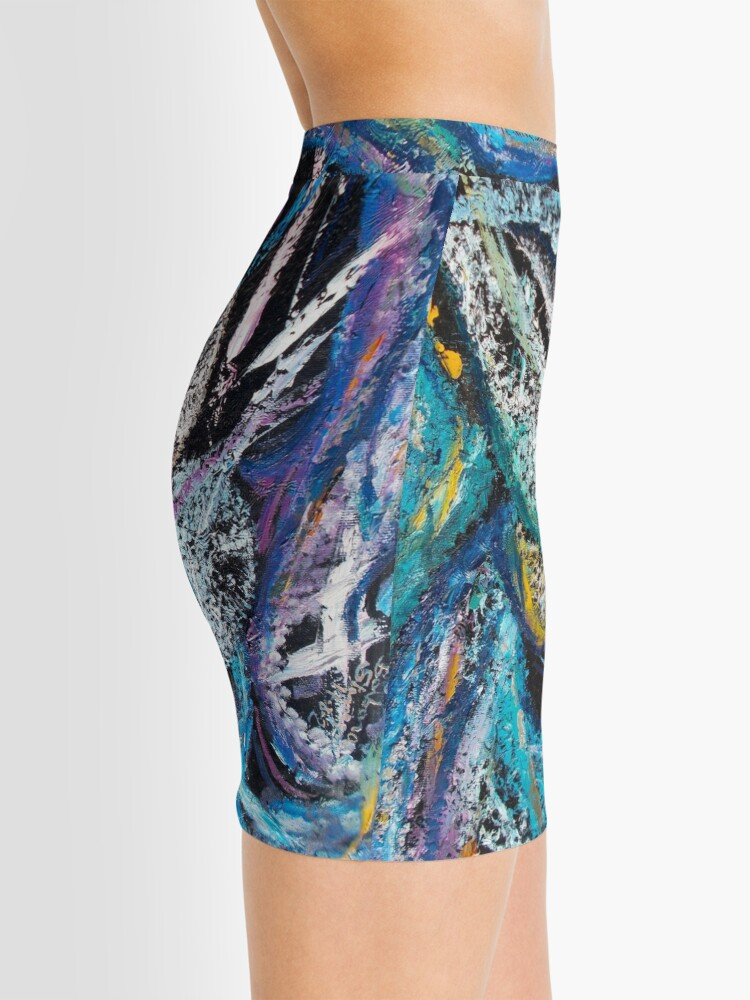Alternate view of Blue Lily Abstract Art Mini Skirt