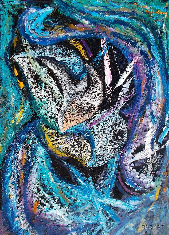Blue Lily Abstract Art by BBS ART