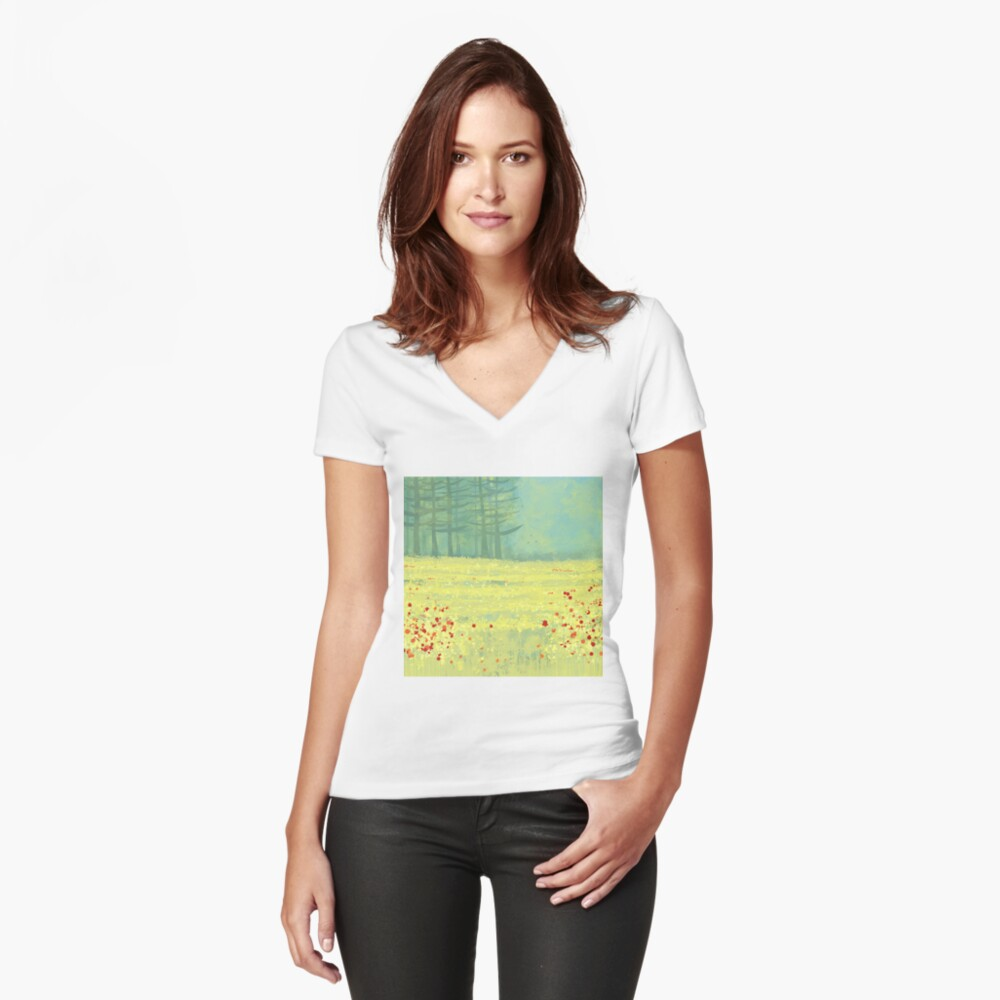 Meadow near Périgueux Women's Fitted V-Neck T-Shirt Front