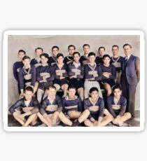 [Boys rugby team, possibly from a Vancouver high school]. [unknown] 1937  colorized by Ahmet Asar Sticker