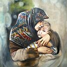 Safe in mother's arms by Lubna