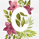 Letter C in watercolor flowers and leaves. Floral monogram. by helga-wigandt