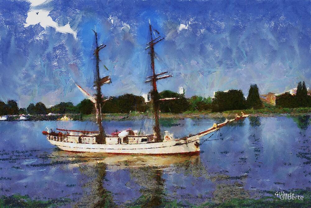 Sailboat on Scheldt - Antwerp - Belgium by Gilberte