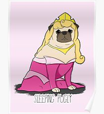 Sleeping Pugly Make it Pink! Poster