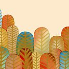 GOLD FEATHER FOREST - Rich Red, Blue, and Orange Watercolor Design by VegShop