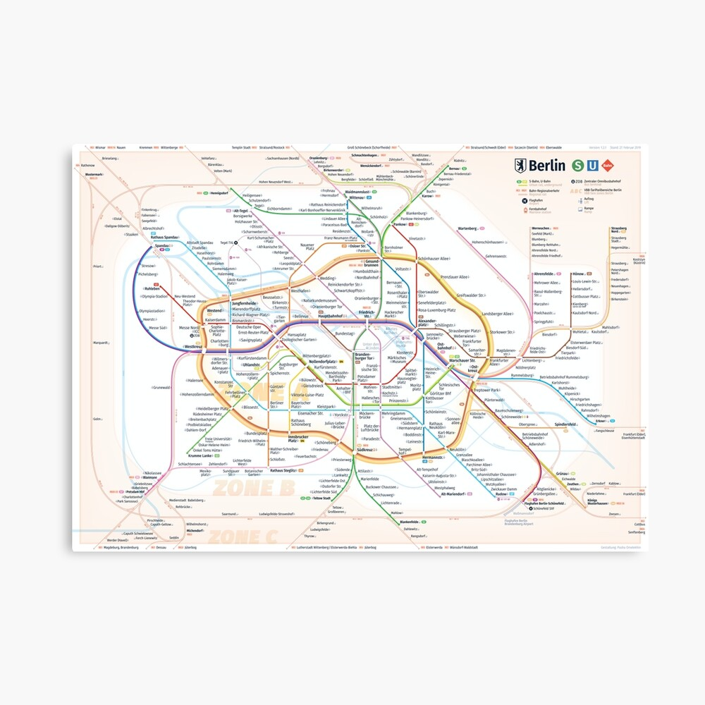 New Berlin rapid transit route map (February 27, 2019) Canvas Print