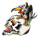 Traditional Vulture and Skull Tattoo Design by FOREVER TRUE TATTOO