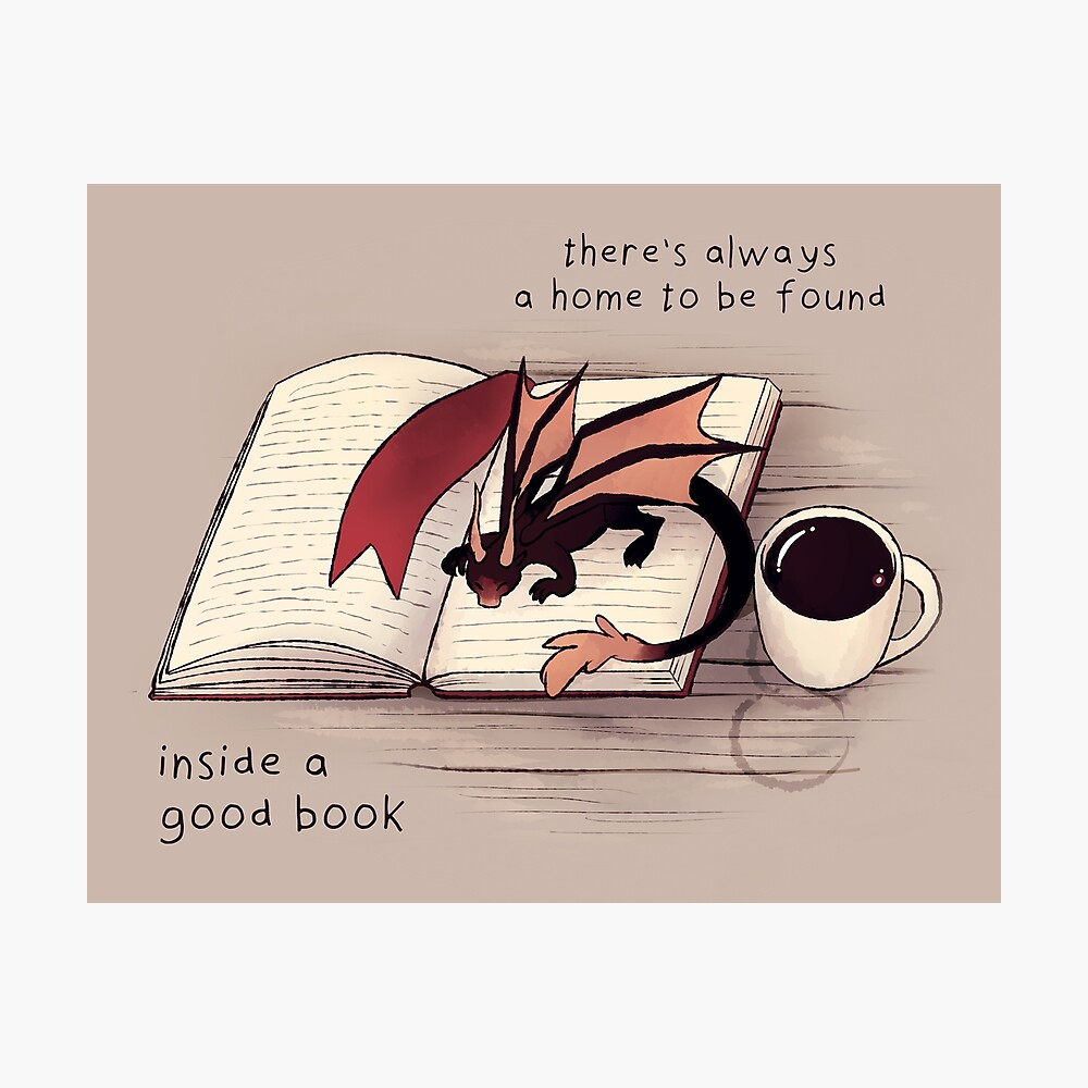 """""""There's always a home to be found inside a good book"""" Dragon Photographic Print"""
