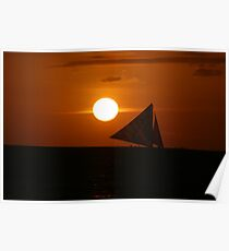 sailing into the sunset. Poster