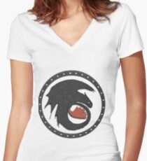 Night Fury Symbol Tee (How To Train Your Dragon Women's Fitted V-Neck T-Shirt