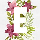 Letter E in watercolor flowers and leaves. Floral monogram. by helga-wigandt