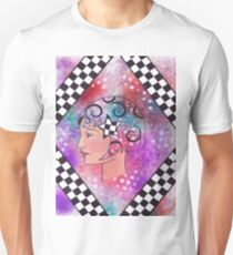Whimiscal Girl with Checkerboard Border T-Shirt