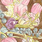 Tulips Eucalyptus Roses by astrongwater