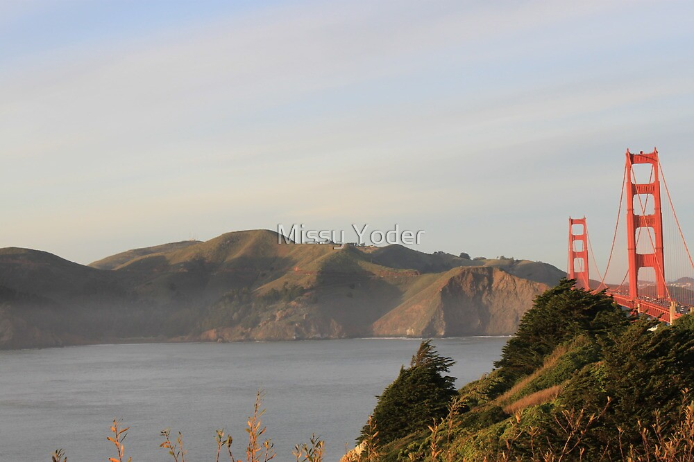Golden Gate Bridge on a Foggy Day with mountains in the background by Missy Yoder