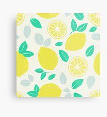 Summer Lemon Pattern Metal Print