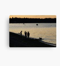 A family at Sunset, Parksville. BC Canvas Print