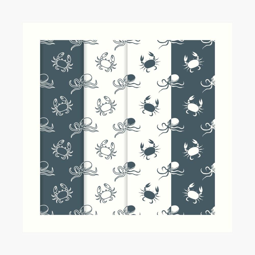 Set of 4 seamless pattern. Octopuses and crabs. Lámina artística
