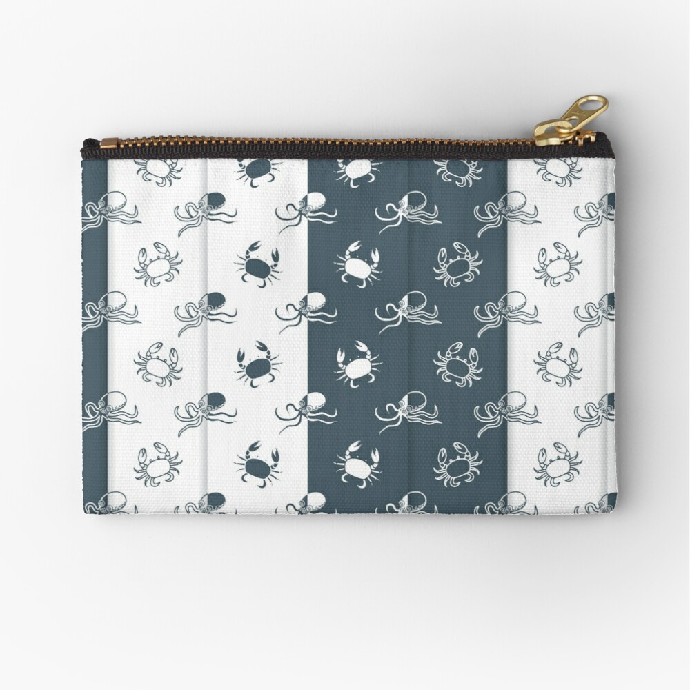 Set of 4 seamless pattern. Octopuses and crabs. Bolsos de mano