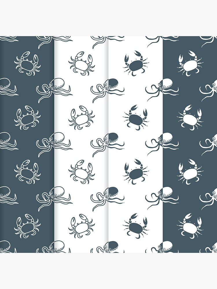 Set of 4 seamless pattern. Octopuses and crabs. de aquamarine-p