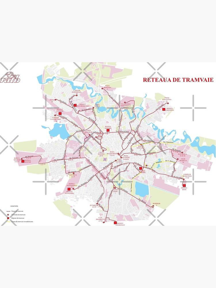 Romania - Bucharest - Tramway Map - HD | Metal Print