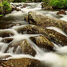 Cascading Water and Rocky Mountain Rocks by Bo Insogna