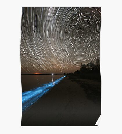 Bioluminescence with Star Trails Poster