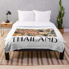 Thailand Historical Culture Illustration Throw Blanket